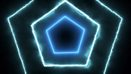 Neon glowing hexagonal tunnel on a black background Banque d'images