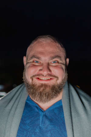 Charismatic portrait of a bearded bald man. Archivio Fotografico