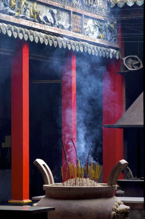 incense sticks: Burning incense sticks at the Thien Hau temple in Ho-Chi-Minh City, Vietnam