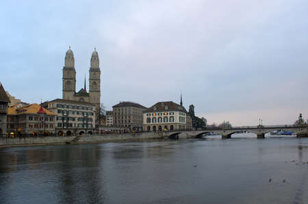 grossmunster cathedral: River Limmat with Grossmunster cathedral, Zurich