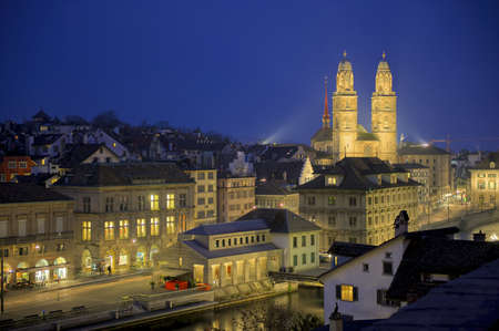 grossmunster cathedral: Grossmunster cathedral near river Limmat in the old town of the city of Zurich, Switzerland.