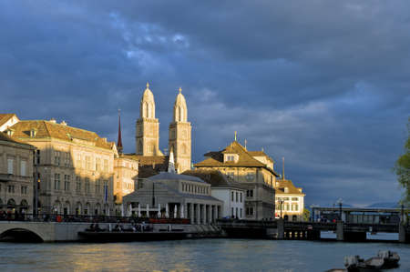 grossmunster cathedral: Zurich, Switzerland - July 18, 2011: Zurich