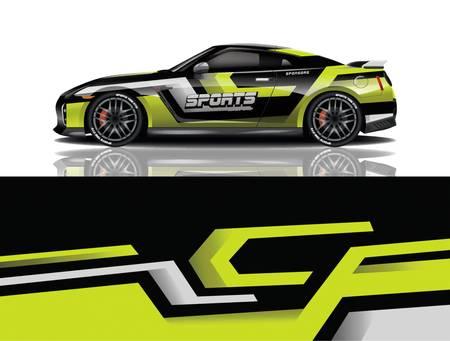 sport car decal wrap design vector eps 10 Stock Illustratie