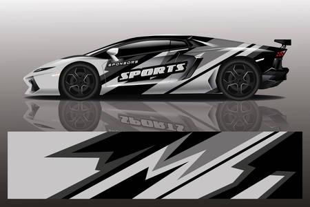 Sportwagen-Aufkleber-Wrap-Design-Vektor Sportwagen-Aufkleber-Wrap-Design-Vektor Vektorgrafik