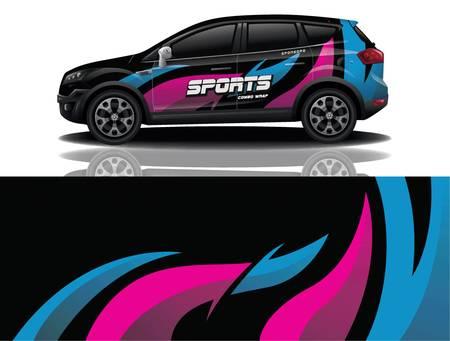 sport car decal wrap design vector 向量圖像