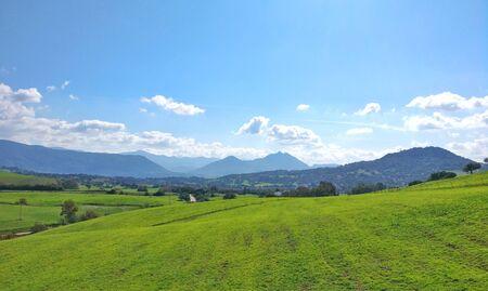 Green, mountain and cloud fields in Prado del Rey, Cadiz