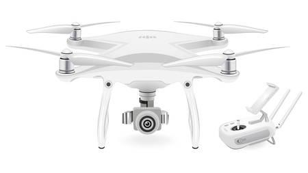 Een quadcopter op witte achtergrond, vectorillustratie.