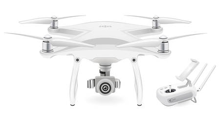 A quad copter on white background, vector illustration. Vettoriali