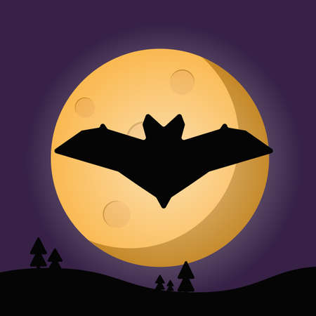 spook: bat moon emblem, vector, night, moon, black, dark, flat, creative, icon, gillustration, art, space, nature, flat design Illustration