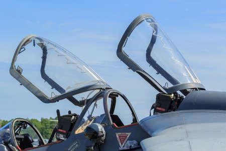 warbirds: Closeup of aircraft canopy against a blue sky Stock Photo