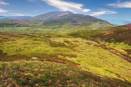 Nire Valley in Comeragh mountains with Knockanaffrin Ridge in background.County Waterford,Ireland. Banco de Imagens