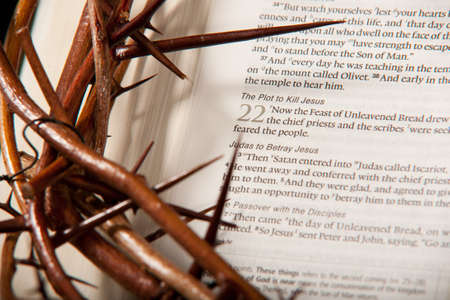 Crown of Thorns on Bible (Luke 22) photo