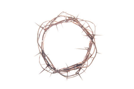 A crown of thorns on a glowing white background photo