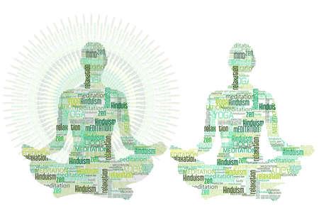 mind body soul:  women practising Yoga meditation Illustration