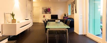 living modern apartment furnished with table chairs sideboard sofa and equipped wall. Banco de Imagens