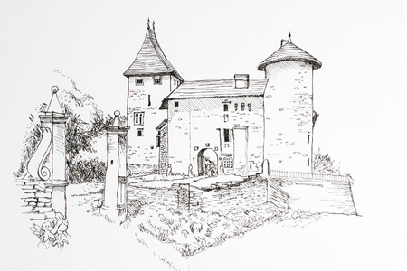 Freehand drawing castle ink. Black and white image