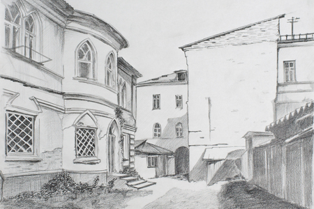 pencil drawings: Pencil drawing yard in the Gothic style