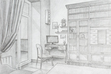 drawings image: Freehand drawing pencil interior library in a private house Stock Photo