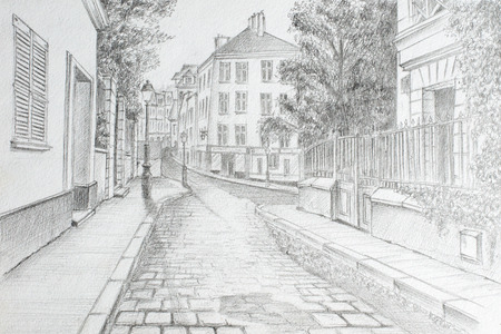Pencil drawing from the hand of the street on the outskirts of Paris