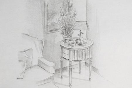 drawing room: Pencil drawing room corner