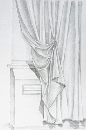 Pencil drawing by hand on the window curtains Stock Photo - 44010026