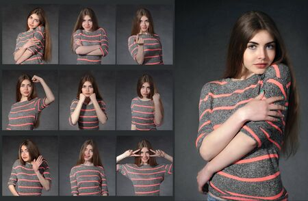 facial expression: Sadness, joy, humility, strength, hopelessness - girl showing different emotions against a dark background