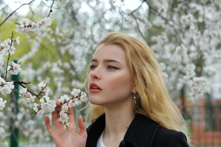 Portrait of a blonde who enjoys the smell of flowering apricots while walking along the avenue