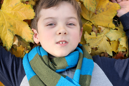 School boy is in the autumn yellow leaves on the ground. He is dressed in a jacket and blue-green scarf tied around his neck