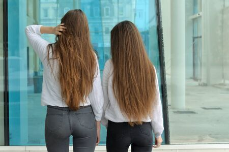 Two girls with a slender figure stand with their backs to the camera. They both have long brown hair that is long to the waist and they are dressed in identical white sweaters. Stock Photo