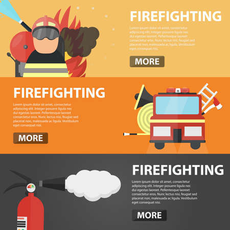 firefighting: Set of vector flat horizontal banners of firefighting for website. Business concept of firefighter profession, emergency, fire protection and danger situation.
