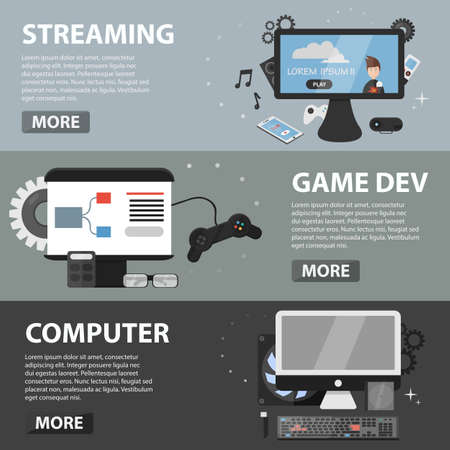 streaming: Set of vector flat horizontal banners of streaming, game development and computer. Business concept of testing, coding, electronic market and hardware.