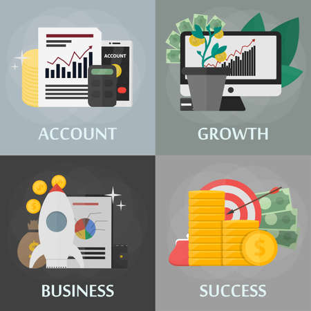 bank statement: Vector flat square banners of account, growth, business and success. Concept of marketing, commerce, banking, finance and economy. Set of isolated business elements in flat design.