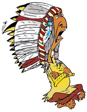 capo indiano: dure Indian Chief del fumetto Illustrazione-Vektorgrafik eps Vettoriali