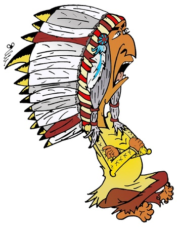 harsh: harsh Indian Chief cartoon Illustration-Vektorgrafik eps