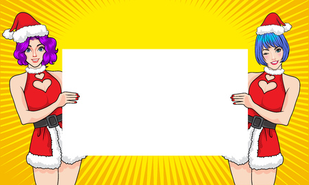 Twin pretty santa woman showing with empty space banner.Woman gesture presenting something  with dot background pop art comics style.