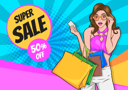Beautiful woman is shopping. The girl with the packages. Fashionable.Woman Hand Holding Colorful Shopping Bag Show Sale Campaign.pop art style for poster template. Ilustración de vector