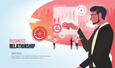 Business concept of vector illustration, little people links of mechanism, business mechanism, abstract background with gears