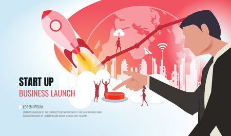 Business startup concept. Vector of a super hero businesswoman and buisnessman standing next to a rocket as a symbol of successful entrepreneurship