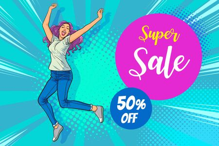 Beautiful young woman jumping from happiness lifestyle for sale banner. Pop art retro comic book vector illustration.