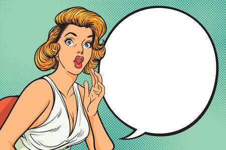 surprised woman face with open mouth with wide open eyes and rising hands screaming with a bubble for you text in the pop art comics style.