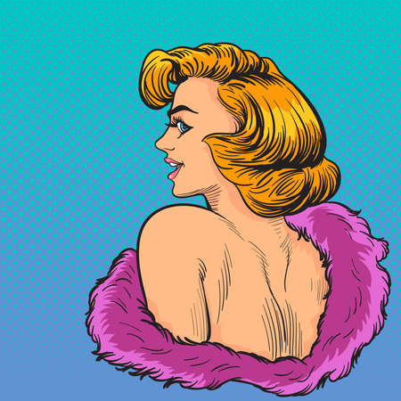 Elegance pop art woman wow face look back.Pop art retro comic book cartoon drawing vector illustration kitsch vintage