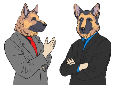 cartoon dog: Hand drawn German Sheperd business men