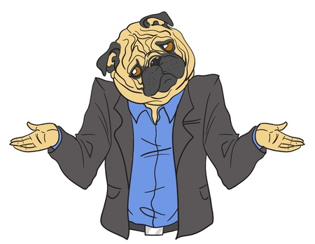 Hand drawn pug business man