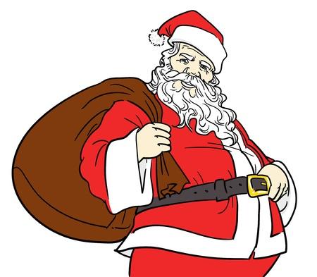 Getrokken Kerstman lacht