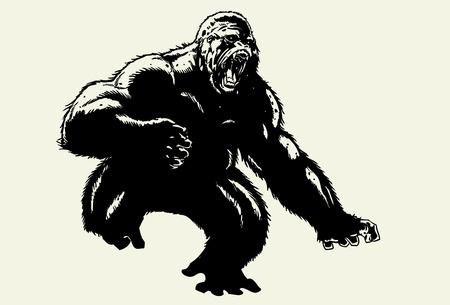 Hand drawn wild gorilla