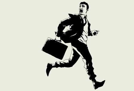 fear: Hand drawn runaway businessman Illustration