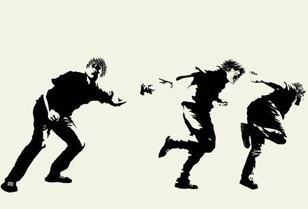 runaway: Dibujado a mano del hombre fuera de control Vectores