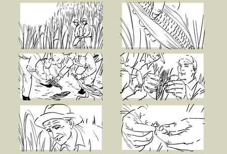 corn fields: Hand drawn cornfield with workers