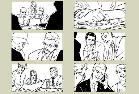 Getrokken zakelijke bijeenkomst collectie-i-