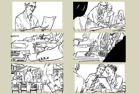 Hand drawn business meeting -iv-